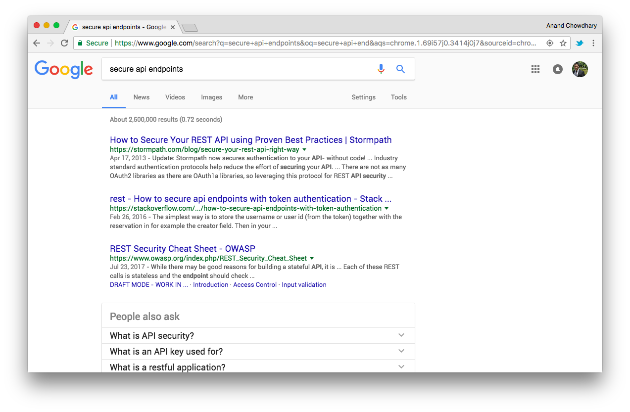 Screenshot of Google Search results for 'secure api endpoints'